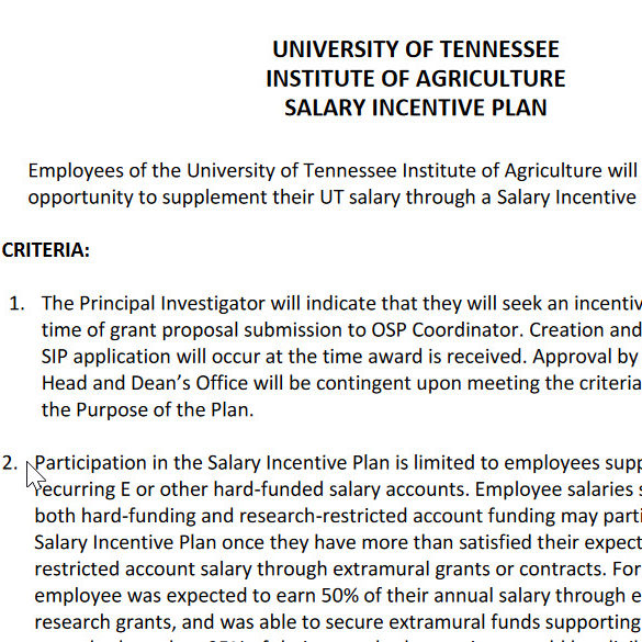 UTIA Salary Incentive Plan (SIP) Link
